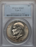 Eisenhower Dollars: , 1976 $1 Type One MS65 PCGS. PCGS Population (469/22). NGC Census: (195/14). Mintage: 4,019,000. Numismedia Wsl. Price for p...
