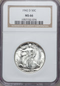 Walking Liberty Half Dollars: , 1942-D 50C MS66 NGC. NGC Census: (867/140). PCGS Population(1113/139). Mintage: 10,973,800. Numismedia Wsl. Price for prob...