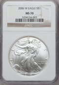 Modern Bullion Coins, 2006-W $1 Silver Eagle MS70 NGC. NGC Census: (9956). PCGS Population (997). Numismedia Wsl. Price for problem free NGC/PCG...