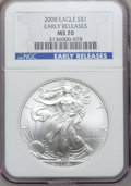 Modern Bullion Coins, 2008 $1 One Ounce Silver Eagle Silver Eagle Early Releases MS70 NGC. NGC Census: (4152). PCGS Population (10757)....