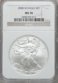Modern Bullion Coins, 2008-W $1 Silver Eagle MS70 NGC. NGC Census: (19669). PCGSPopulation (2058)....