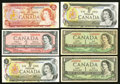 Canadian Currency: , Canada Replacements from the 1954, 1973 and 1974 Series.. ... (Total: 6 notes)