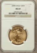 Modern Bullion Coins, 2008 $25 Gold Eagle 1/2 Oz MS69 NGC. NGC Census: (2331/1732). PCGSPopulation (26/0). Numismedia Wsl. Price for problem fr...