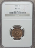 Indian Cents, 1862 1C MS62 NGC. NGC Census: (244/1010). PCGS Population(246/1424). Mintage: 28,075,000. Numismedia Wsl. Price forproble...