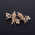 Estate Jewelry:Brooches - Pins, Cultured Pearl, Gold Bird Brooch. ...