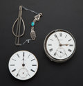 Timepieces:Other , Two Movements For Parts Or Repair And Turquoise Fob. ... (Total: 3Items)