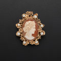 Estate Jewelry:Brooches - Pins, Shell Cameo, Cultured Pearl, Gold Brooch. ...
