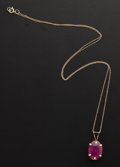 Estate Jewelry:Necklaces, Ruby, Gold Necklace. ... (Total: 2 Items)