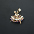 Estate Jewelry:Brooches - Pins, Cultured Pearl, Sapphire, Ruby, Gold Ballerina Brooch. ...