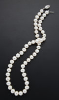 Estate Jewelry:Necklaces, Cultured Pearl, Silver Necklace. ...
