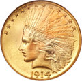 Indian Eagles, 1914-D $10 MS65 NGC. CAC....