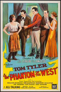 """The Phantom of the West (Mascot, 1931). One Sheet (27"""" X 41"""") Chapter 5 --""""The League of the Lawless.&quo..."""