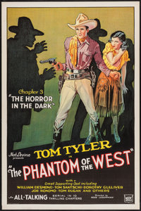 """The Phantom of the West (Mascot, 1931). One Sheet (27"""" X 41"""") Chapter 3 --""""The Horror in the Dark.""""..."""