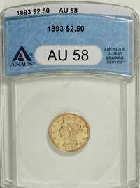 1893 $2 1/2 AU58 ANACS. NGC Census: (60/559). PCGS Population (78/496). Mintage: 30,000. Numismedia Wsl. Price for NGC/P...