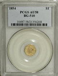 California Fractional Gold, 1854 $1 Liberty Octagonal 1 Dollar, BG-510, Low R.5, AU58 PCGS....