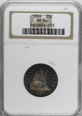 Proof Seated Quarters, 1869 25C PR64 NGC....