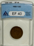 1850 1/2 C XF40 ANACS. NGC Census: (3/126). PCGS Population (2/124). Mintage: 39,800. Numismedia Wsl. Price for NGC/PCGS...
