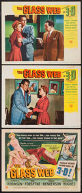 """Movie Posters:Crime, The Glass Web (Universal International, 1953). Title Lobby Card and Lobby Cards (2) (11"""" X 14""""). 3-D Style. Crime.. ... (Total: 3 Items)"""