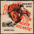 """Movie Posters:War, Action in the North Atlantic (Warner Brothers, 1943). TrimmedWindow Card (13.5"""" X 13.5""""). War.. ..."""