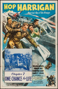"Hop Harrigan (Columbia, 1946). One Sheet (27"" X 41""). Chapter 7 -- ""One Chance for Life."" Serial..."