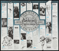 "Star Wars: The First Ten Years (Official Star Wars Fan Club, 1987). Time Line Poster (22"" X 25.5""). Science Fi..."