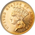 Three Dollar Gold Pieces, 1885 $3 MS63 Prooflike NGC....