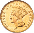 Three Dollar Gold Pieces, 1881 $3 MS61 NGC....