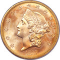 Liberty Double Eagles, 1857-S $20 MS66 PCGS. CAC. Variety 20-A....