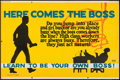 """Movie Posters:Miscellaneous, Here Comes the Boss (Mather and Company, 1923). Motivational Poster (28"""" X 41.5""""). Miscellaneous.. ..."""