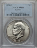 Eisenhower Dollars: , 1976-D $1 Type One MS66 PCGS. PCGS Population (262/3). NGC Census: (244/7). Mintage: 21,048,710. Numismedia Wsl. Price for ...