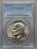 Eisenhower Dollars: , 1977-D $1 MS66 PCGS. PCGS Population (438/6). NGC Census: (1761/8). Mintage: 32,983,006. Numismedia Wsl. Price for problem ...