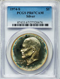 Proof Eisenhower Dollars: , 1974-S $1 Silver PR67 Cameo PCGS. PCGS Population (104/278). NGCCensus: (93/729). Numismedia Wsl. Price for problem free ...