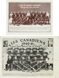 Hockey Collectibles:Photos, 1940-44 Montreal Canadiens Team Photograph Premiums Lot of 2....