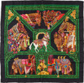"Luxury Accessories:Accessories, Hermes Black & Green ""La Danse du Cheval Marwari,"" by AnnieFaivre Silk Scarf. ..."