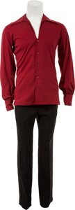 Music Memorabilia:Costumes, Elvis Presley Owned and Worn Maroon Shirt and Black Pants....(Total: 2 Items)