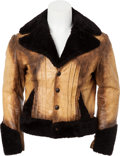 Music Memorabilia:Costumes, Elvis Presley Leather Fur-Trimmed Jacket. ...