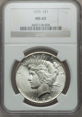 Peace Dollars: , 1925 $1 MS65 NGC. NGC Census: (10028/1806). PCGS Population(6956/1593). Mintage: 10,198,000. Numismedia Wsl. Price for pro...
