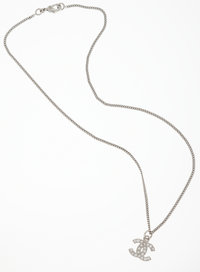 Chanel Silver Chain with Clear Rhinestone CC Pendant