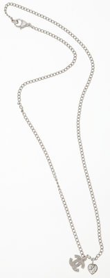 Chanel Silver CC and Heart Motif Necklace with Crystals
