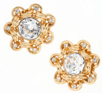 Chanel Large Gold and Crystal Clip-On Earrings