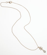Chanel Gold CC Necklace with Crystal Drop Pendant