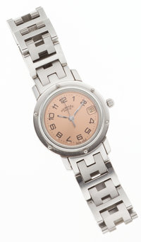 Hermes Stainless Steel Clipper PM Watch with Light Copper Face