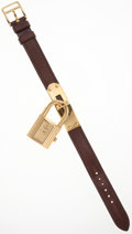 Luxury Accessories:Accessories, Hermes Marron Fonce Epsom Leather Kelly Watch with Gold Hardware....