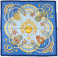 "Luxury Accessories:Accessories, Hermes Blue, Gold & Red ""Kosmima,"" by Julie Abadie Silk Scarf. ..."