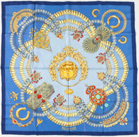 "Hermes Blue, Gold & Red ""Kosmima,"" by Julie Abadie Silk Scarf"