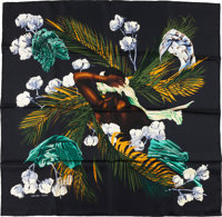 """Hermes Black, Green, and Yellow """"Turbans Des Reines,"""" by Michele Szabo Silk Scarf"""