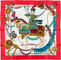 """Hermes Red and White """"Timbalier,"""" by Francoise Heron Silk Scarf"""