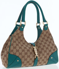 Gucci Classic Monogram Canvas and Turquoise Leather Bardot Shoulder Bag