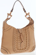 Luxury Accessories:Bags, Gucci Tan Leather Jackie Shoulder Bag with Rose Gold PistonClosure. ...