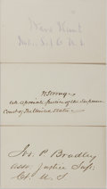 Autographs:Statesmen, [Salmon P. Chase Court]. Group of Three Signatures... (Total: 3Items)